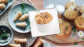 Muffiny s medvědím česnekem, kornoutky s nivou i koláčky se špenátem!