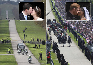Srovnání obrazem: Na svatbě Harryho davy, na veselce Eugenie prázdno