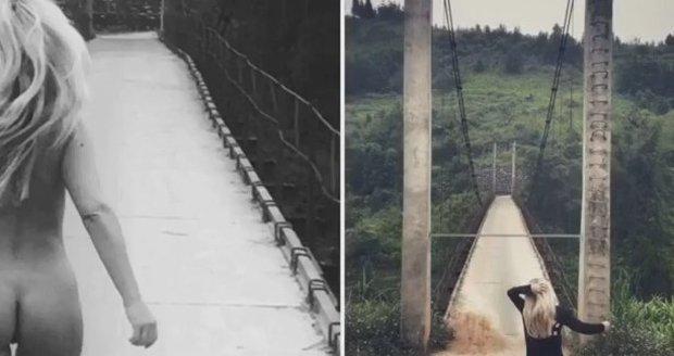 Kateřina Kaira Hrachovcová nahá na mostě
