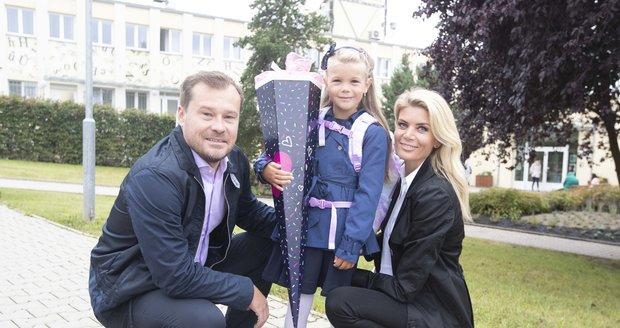 Iveta Vítová a její malá prvňačka - dcera Anetka