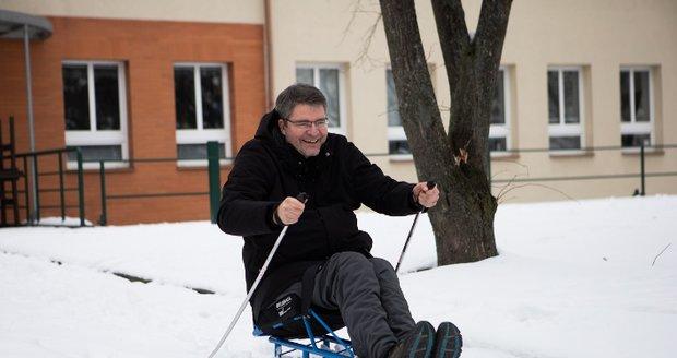 Michal Jančařík na běžkostroji