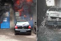 Hořela garáž s osobními auty: Jeden člověk se zranil a škoda se vyšplhala na 1,5 milionu korun