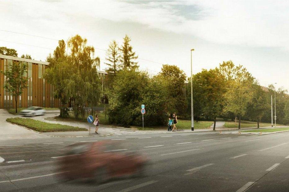 Prestižní soukromá škola Open Gate II (na vizualizaci), kterou místo zbouraného hotelu Praha v pražských Dejvicích staví skupina PPF nejbohatšího Čecha Petra Kellnera, bude mít tři nadzemní podlaží a dvě podzemní. Stavbu chce investor zahájit v lednu 2017.