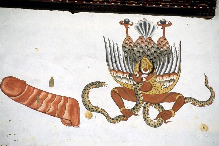 Bhútán, malba na domě.
