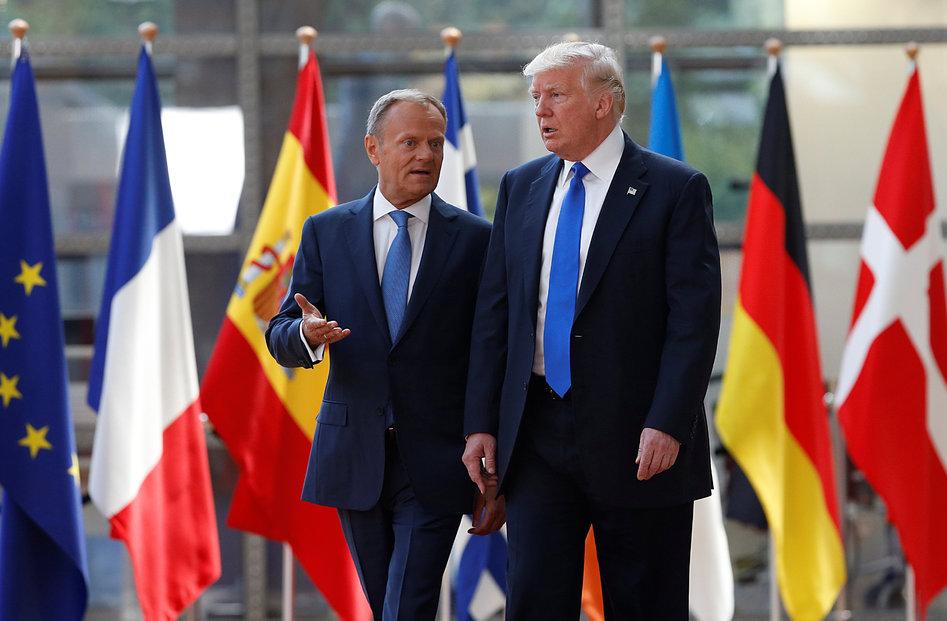 Donald Trump navštívil v Bruselu Donalda Tuska. Společnou řeč v otázkách Ruska však spolu nenašli.