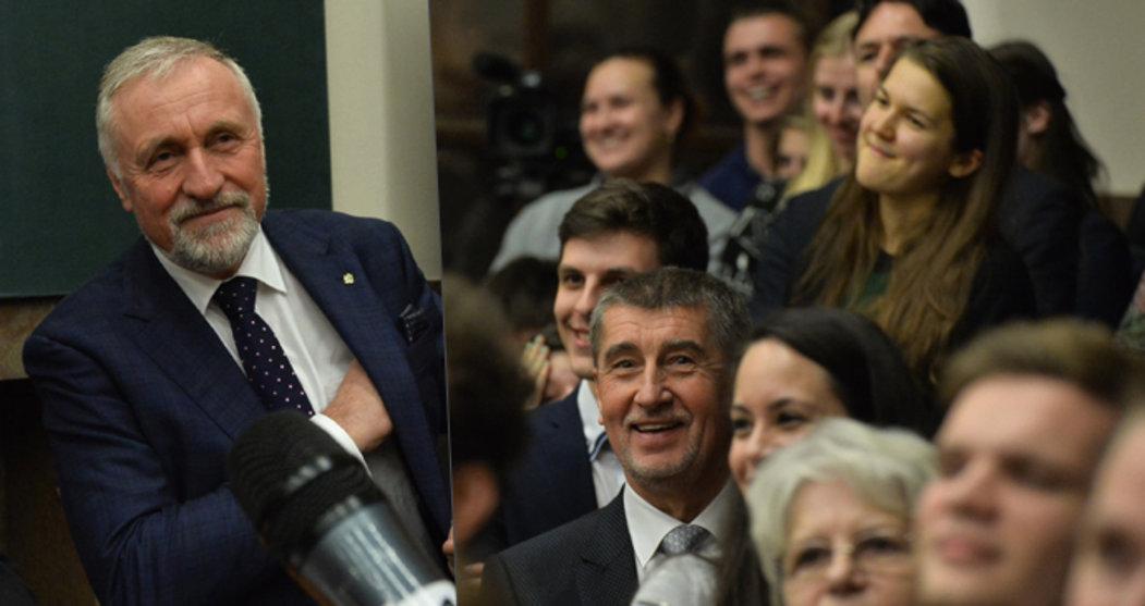 Na Právnické fakultě v Praze se uskutečnila debata prezidentských kandidátů: Mirek Topolánek řečnil, Andrej Babiš se smál