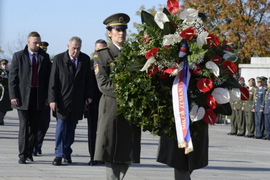 Pietní akt při příležitosti 101. výročí vzniku Československa se konal 28. října 2019 v Praze na Vítkově za účasti prezidenta Miloše Zemana (na snímku) a dalších ústavních i armádních činitelů.