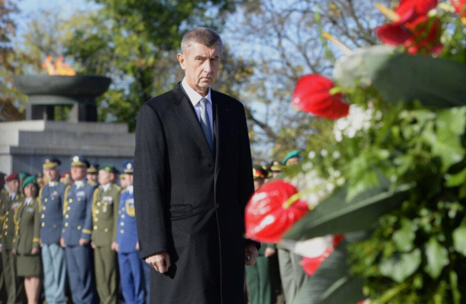 Pietní akt při příležitosti 101. výročí vzniku Československa se konal 28. října 2019 v Praze na Vítkově za účasti prezidenta Miloše Zemana, premiéra Andreje Babiše (na snímku) a dalších ústavních i armádních činitelů.