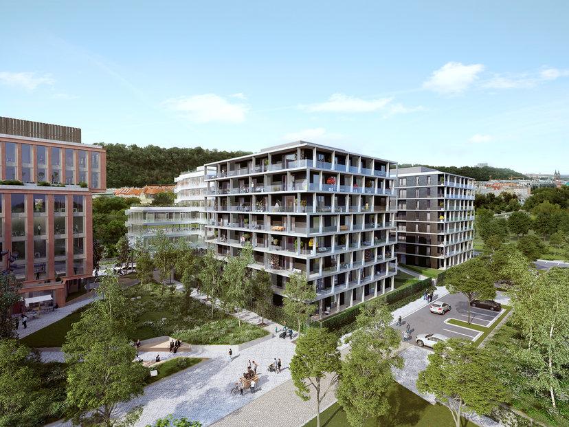 Vizualizace první části developerského projektu Rohan City na Rohanském ostrově v Praze 8