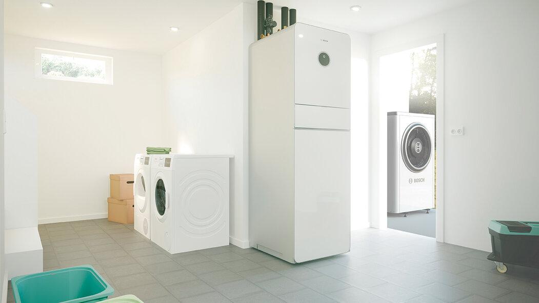 Tepelné čerpadlo Bosch Compress 7000i AW  (vzduch / voda), stacionární vnitřní jednotka  s integrovaným 190l zásobníkem teplé vody, slouží k vytápění, přípravě teplé vody i chlazení, www.bosch-vytapeni.cz
