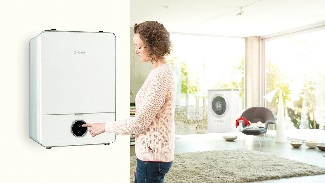 Tepelné čerpadlo Bosch Compress 7000i AW  (vzduch / voda), vnitřní jednotka v závěsném provedení, slouží k vytápění, přípravě teplé vody i chlazení, www.bosch-vytapeni.cz