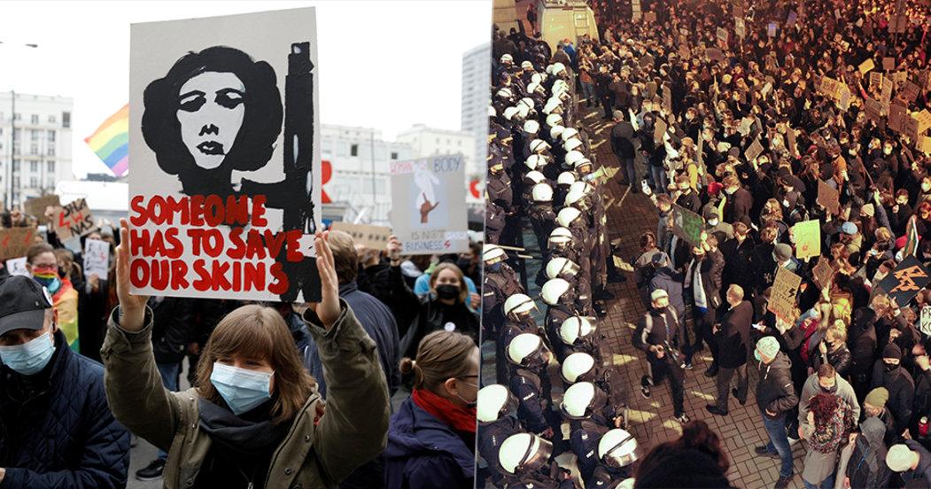 Demonstrovalo se také v Polsku proti zpřísnění potratového zákona. Policie použila proti demonstrantům slzný plyn.