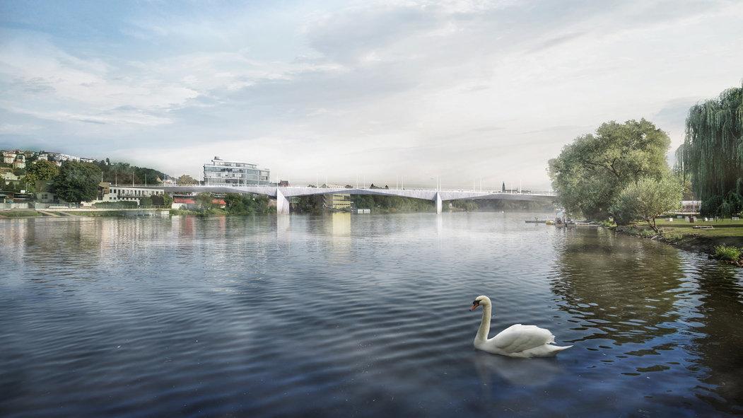 Nový Dvorecký most je z čelního pohledu subtilní
