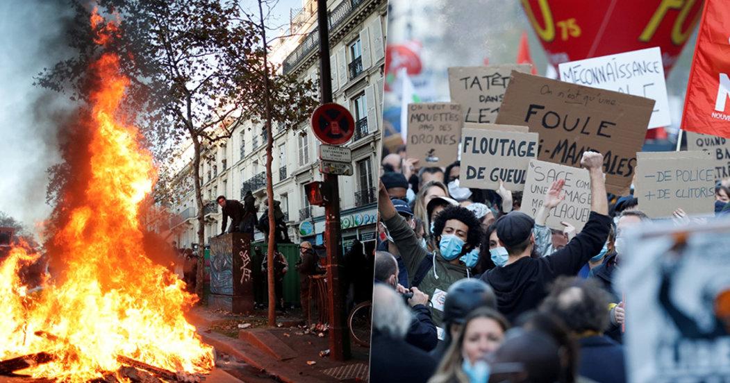 Ulice v plamenech a dav plný hněvu. Francouzi v sedmdesáti městech protestovali proti kontroverznímu zákonu.