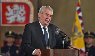 Zeman odložil ceremoniál k udílení státních vyznamenání 28. října na příští rok