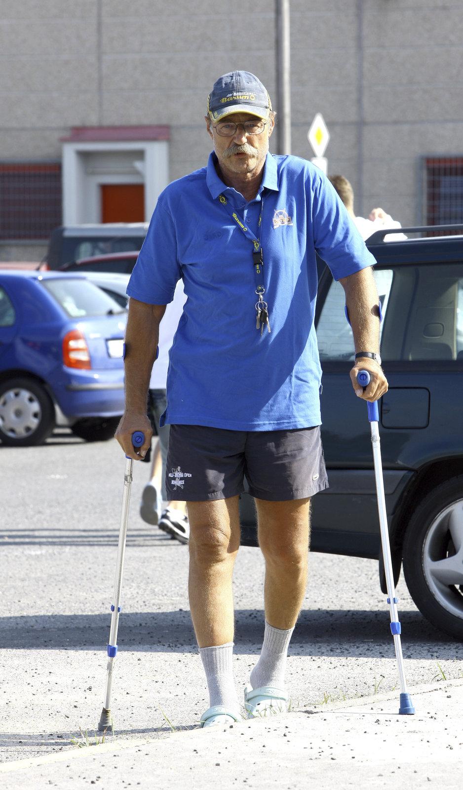 V létě už Nový chodil bez pomoci, pouze o francouzských holích. (srpen 2008)