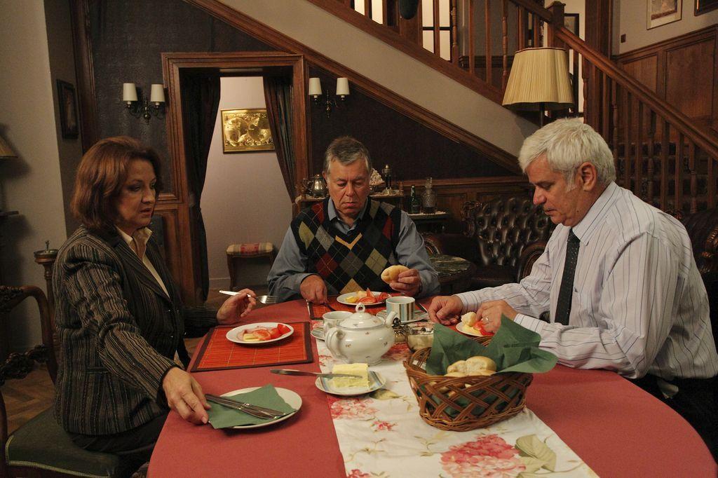 Běla Valšíková (Zlata Adamovská), Jindřich Valšík (Vlastimil Zavřel) a Eduard Valšík (Petr Štěpánek) v seriálu Ordinace v růžové zahradě 2.