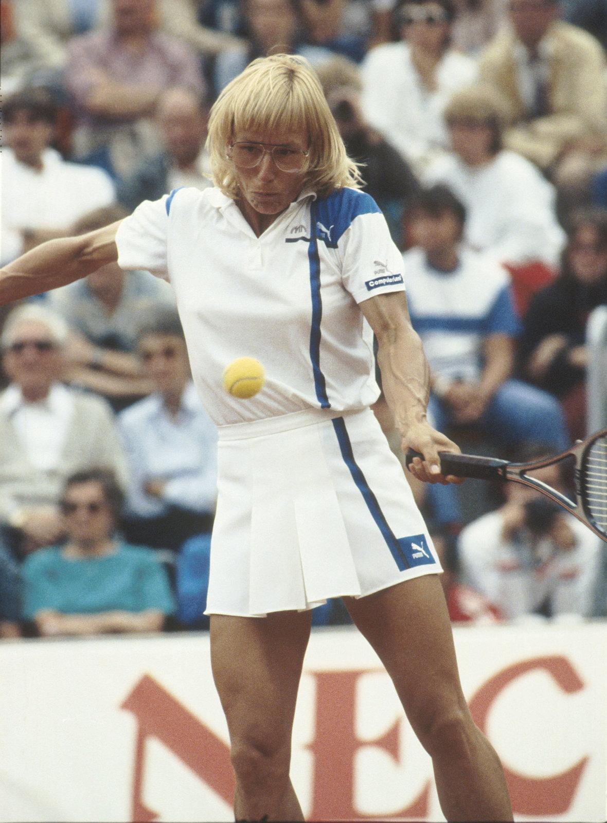 Martina Navrátilová při zápase Československo - USA v roce 1986.
