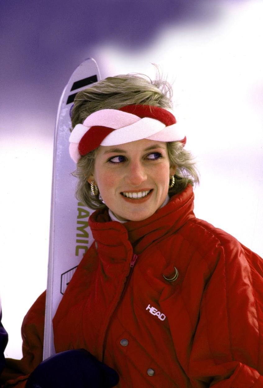 Diana v roce 1985, kdy si vyjela na lyže do Lichtenštejnska.