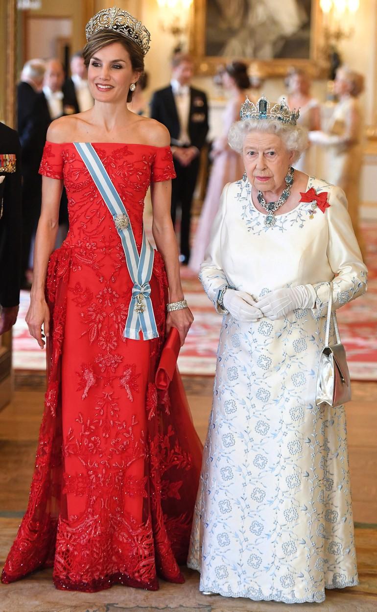 Královna Letizie s britskou královnou.