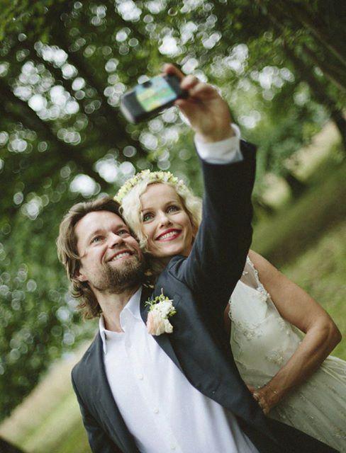 Svatební selfie Richarda Krajča a Karin Babiské