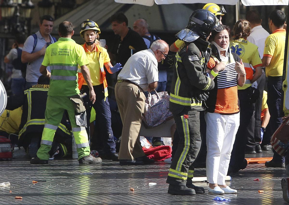 Situace na místě útoku v Barceloně.