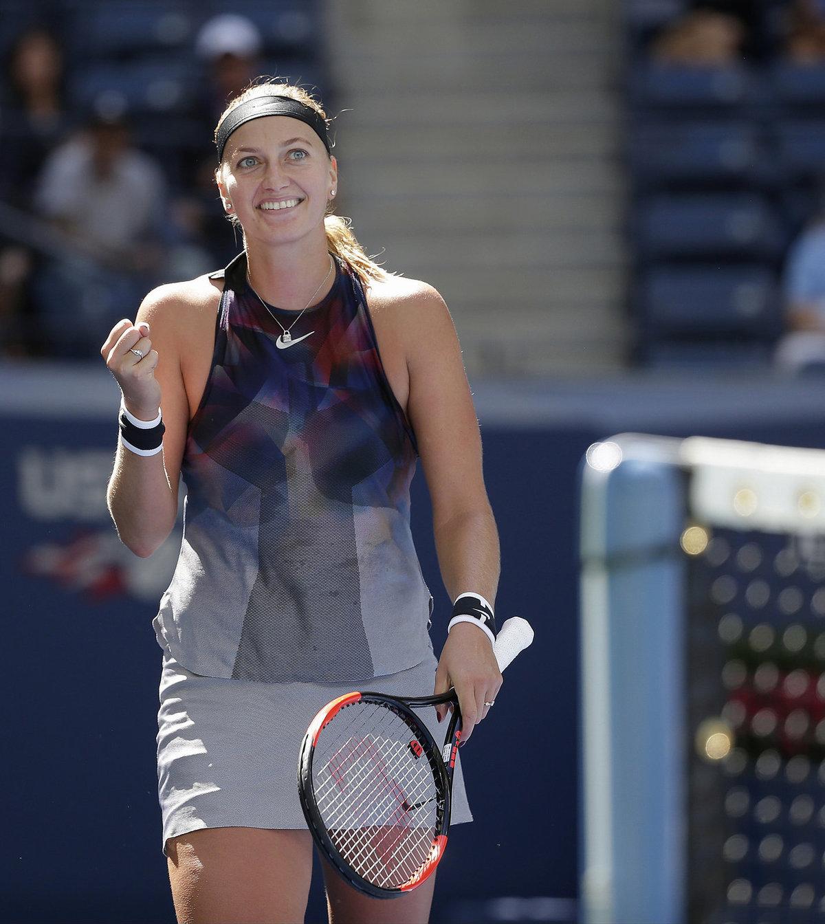 Rozesmátá Petra Kvitová v zápase třetího kola US Open