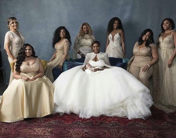 Serena Williams se svými družičkami, které měly šaty z haute couture salonu Galia Lahav