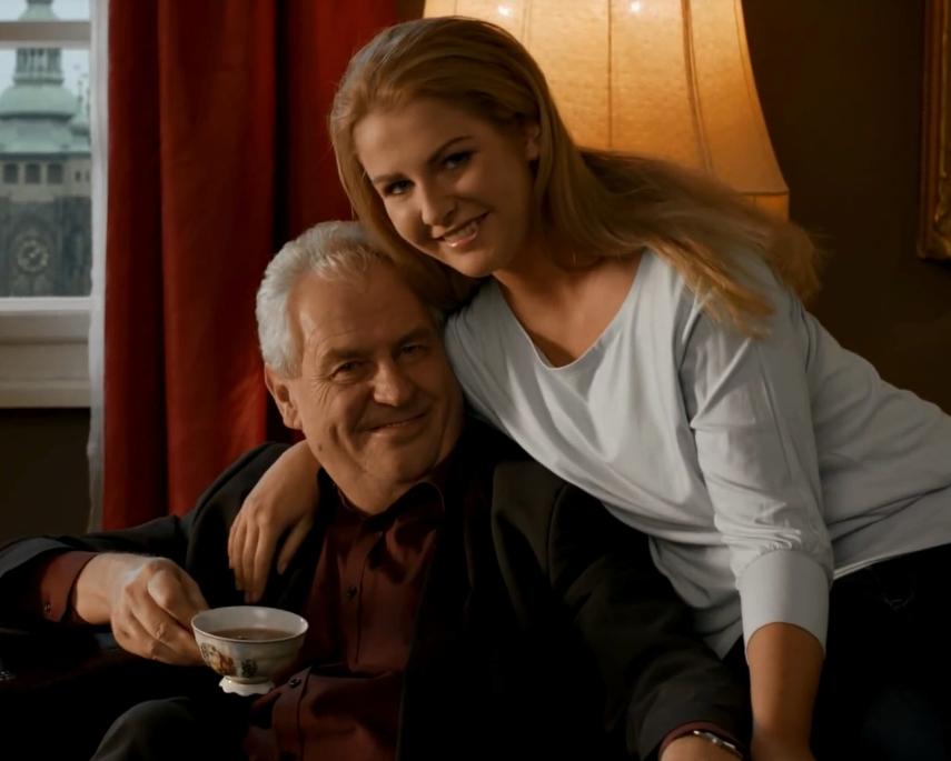 Nynější prezident Miloš Zeman a jeho dcera Kateřina ve spotu z roku 2013