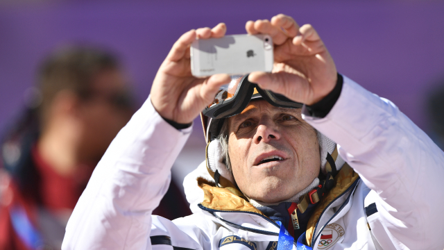 Janek Ledecký fandí dceři na obřím slalomu