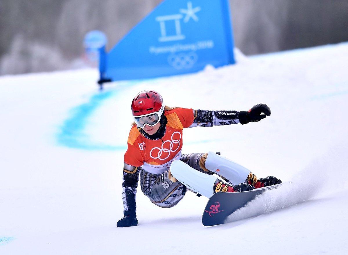 Ester Ledecká na olympijské trati v paralelním obřím slalomu, kde přepsala sportovní historii