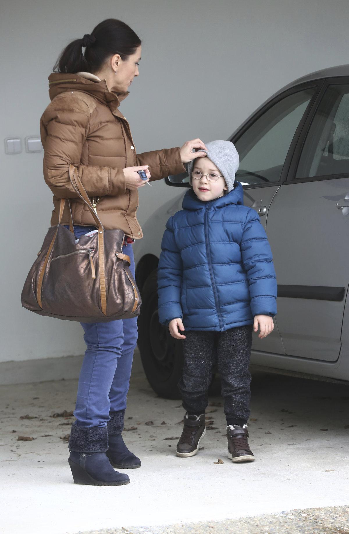 Míša Kuklová se synem Romanem