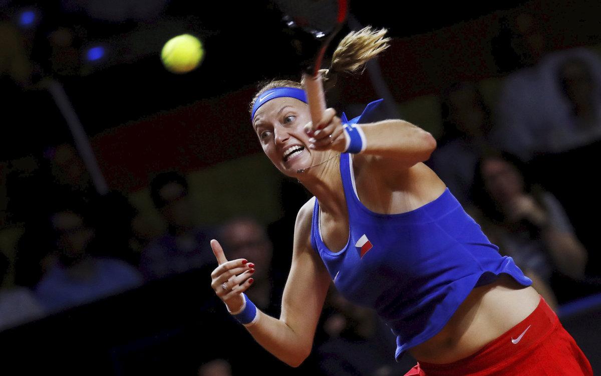 Petra Kvitová v semifinále Fed Cupu proti Angelique Kerberové