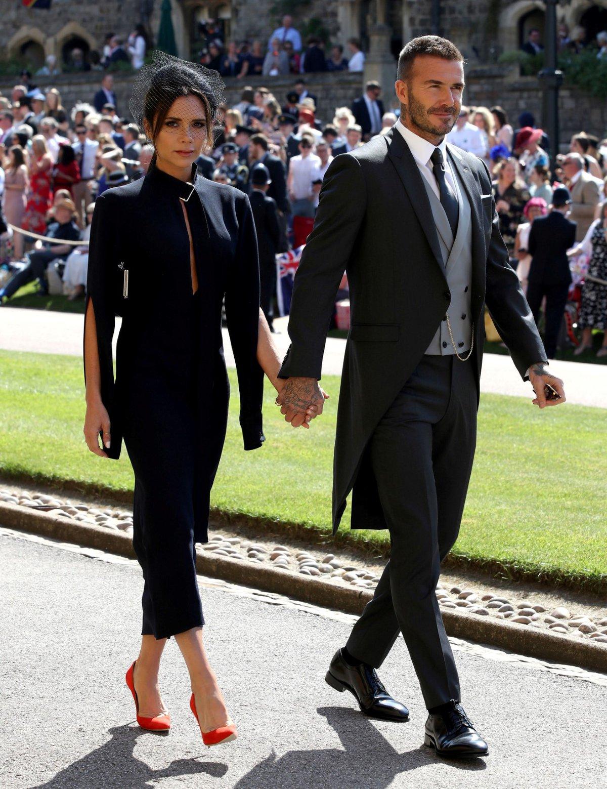 David Beckham s manželkou Victorií na královské svatbě