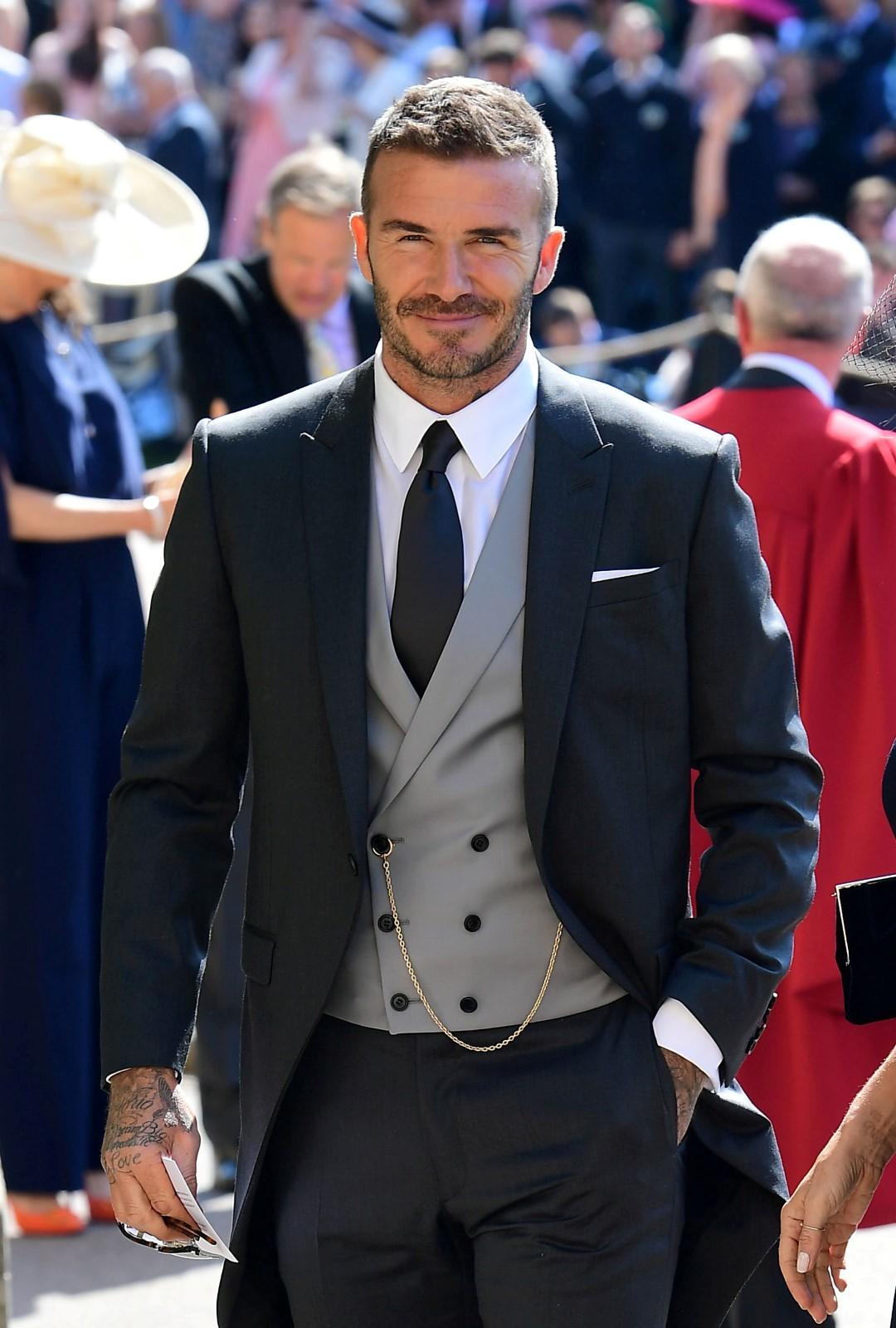 Fotbalista David Beckham na svatbě prince Harryho s Meghan Markle
