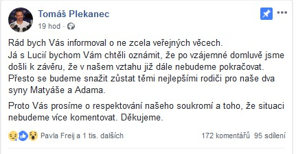 Tomáš Plekanec oznámil rozchod s Lucií Vondráčkovou.