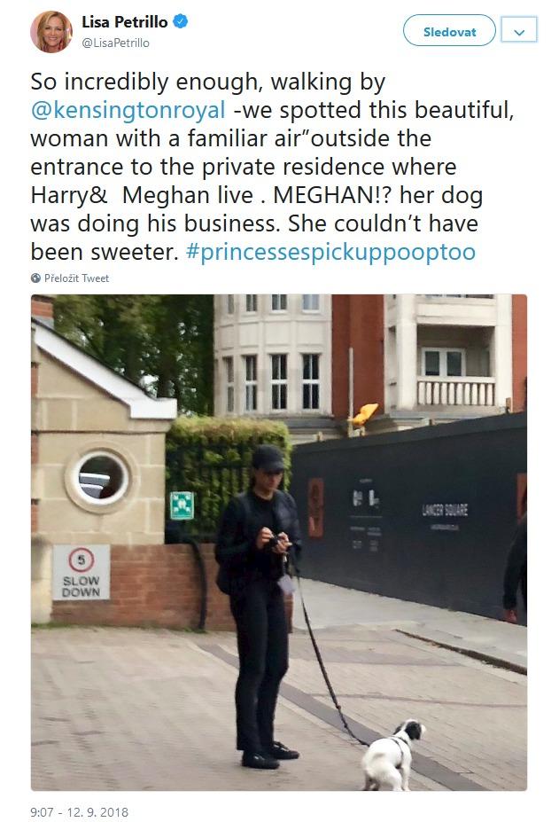 Venčí svého pejska před Kensingtonským palácem vévodkyně Meghan?