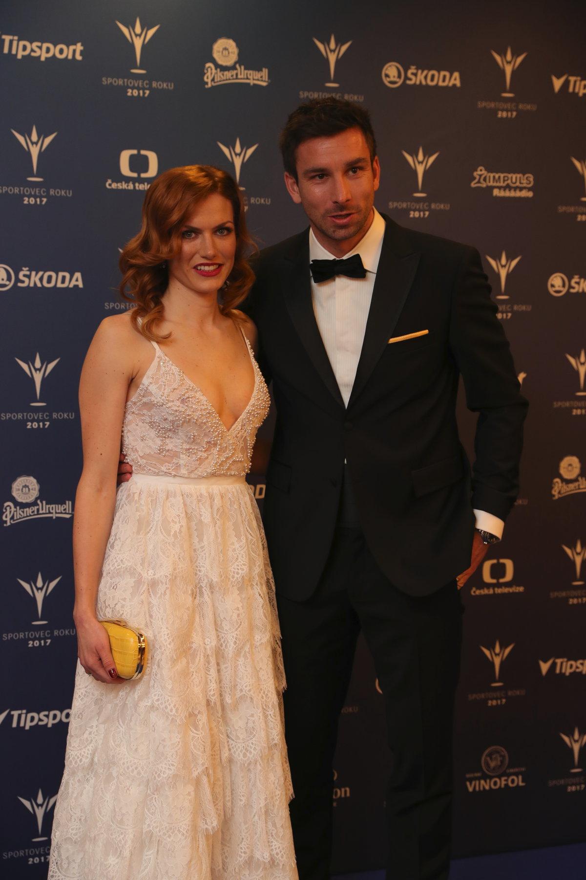 Gabriela Koukalová s manželem Petrem na vyhlášení ankety Sportovec roku