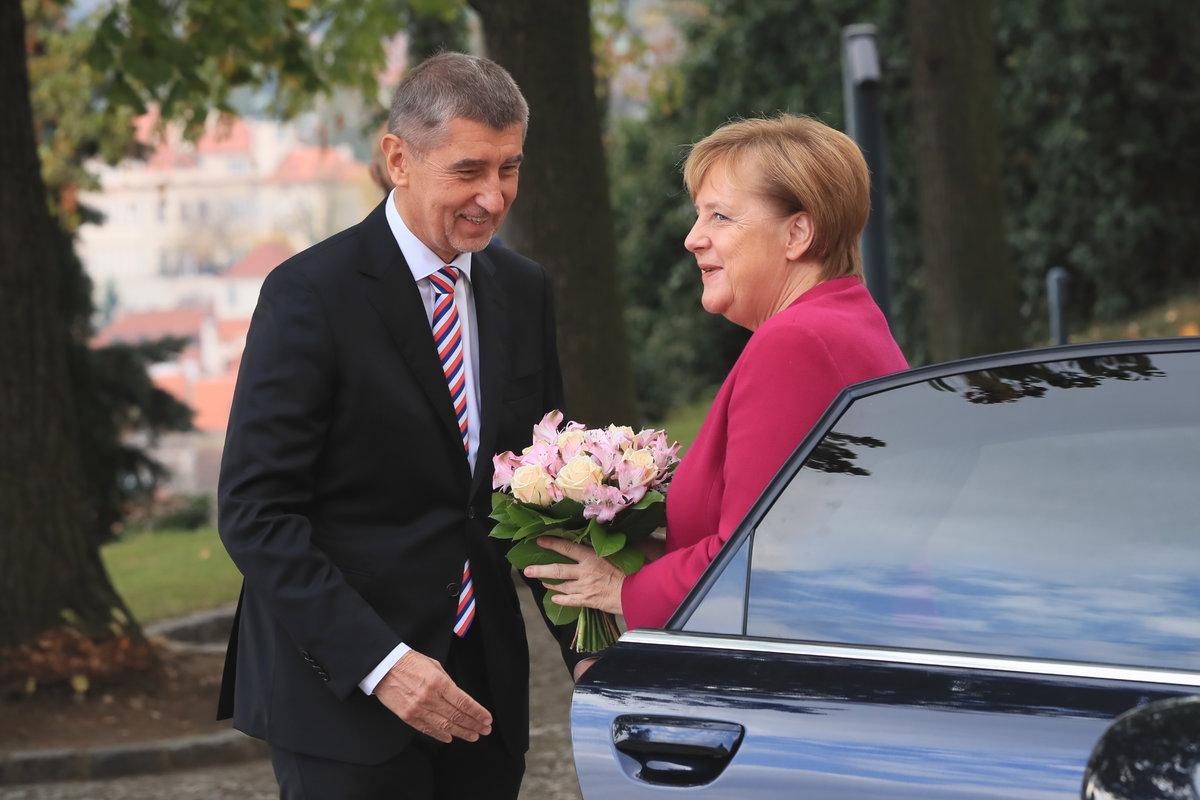 Andrej Babiš přivítal v Praze německou kancléřku Angelu Merkelovou (26.10.2018)