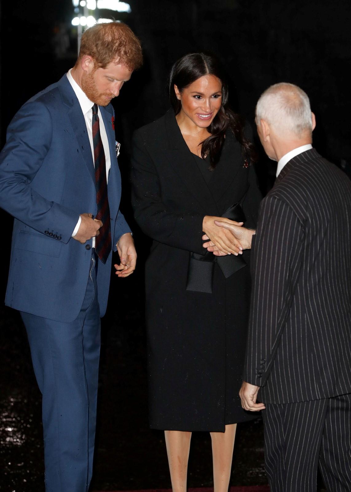 Princ Harry a Megan přicházejí do Royal Albert Hall na tradiční vzpomínkové slavnosti. Na obou je vidět, že si s deštěm užili své
