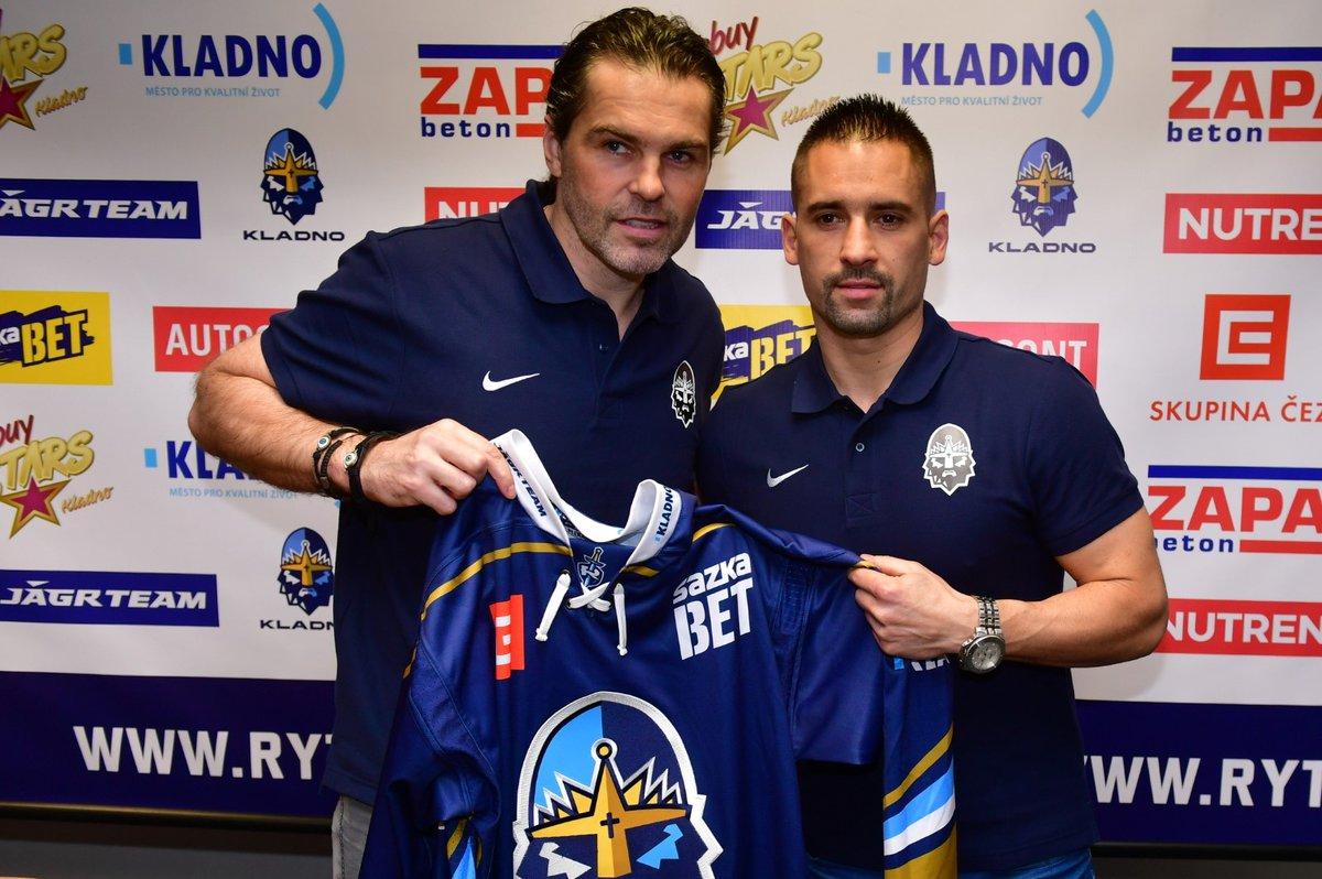 Jaromír Jágr s Tomášem Plekancem, který chce pomoci Kladnu do návratu do extraligy
