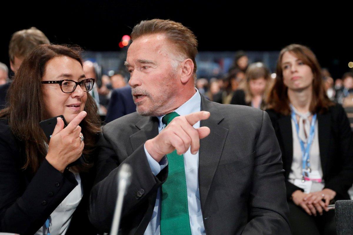 Arnold Schwarzenegger na konferenci o klimatických změnách v Polsku (3. 12. 2018)