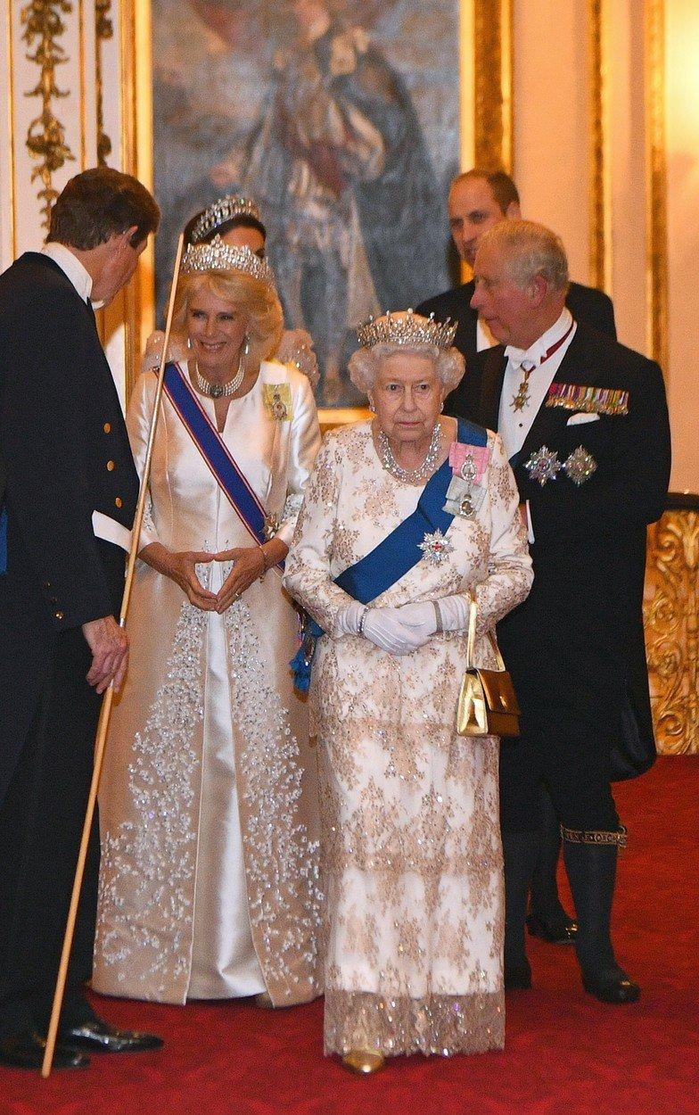 Královna Alžběta II. s vévodkyní Camillou na diplomatické recepci v Buckinghamském paláci.