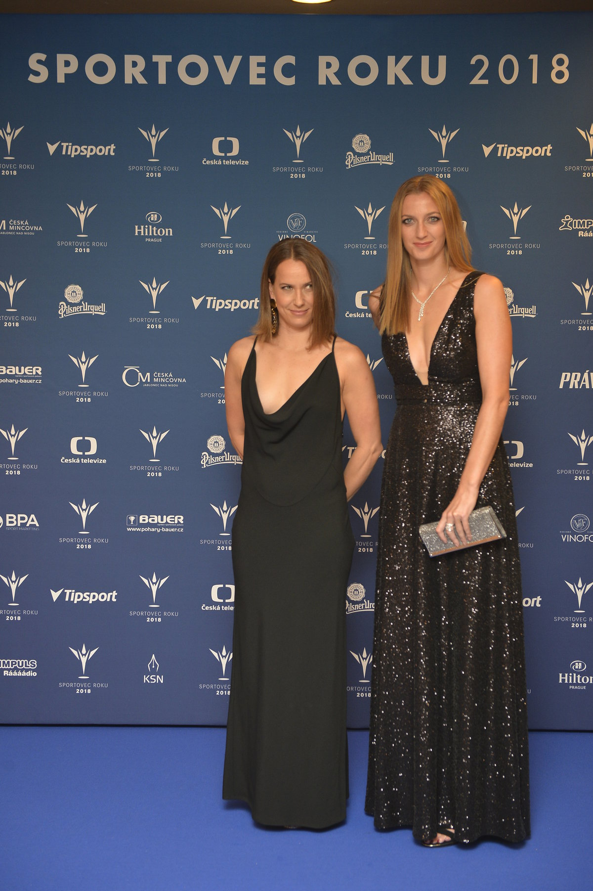 Tenistky Barbora Strýcová s Petrou Kvitovou na vyhlašování ankety Sportovec roku