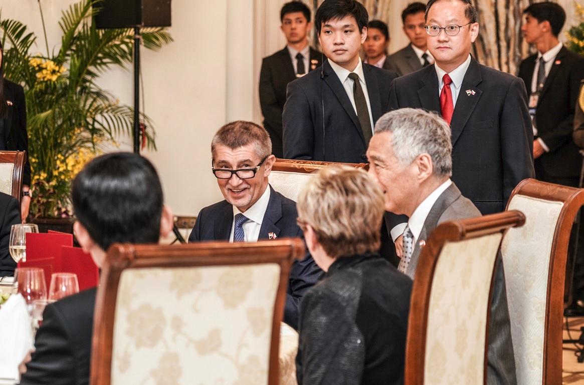 Andrej Babiš se v Singapuru zúčastnil slavnostní večeře v prezidentském paláci (14.1.2019)