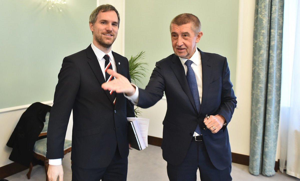 Premiér Andrej Babiš (ANO) a pražský primátor Zdeněk Hřib (Piráti)