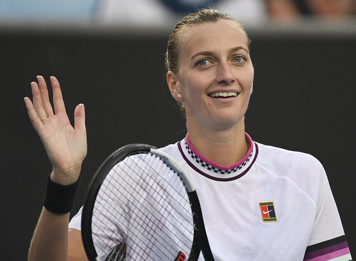 Petra Kvitová se raduje po svém postupu do třetího kola Australian Open