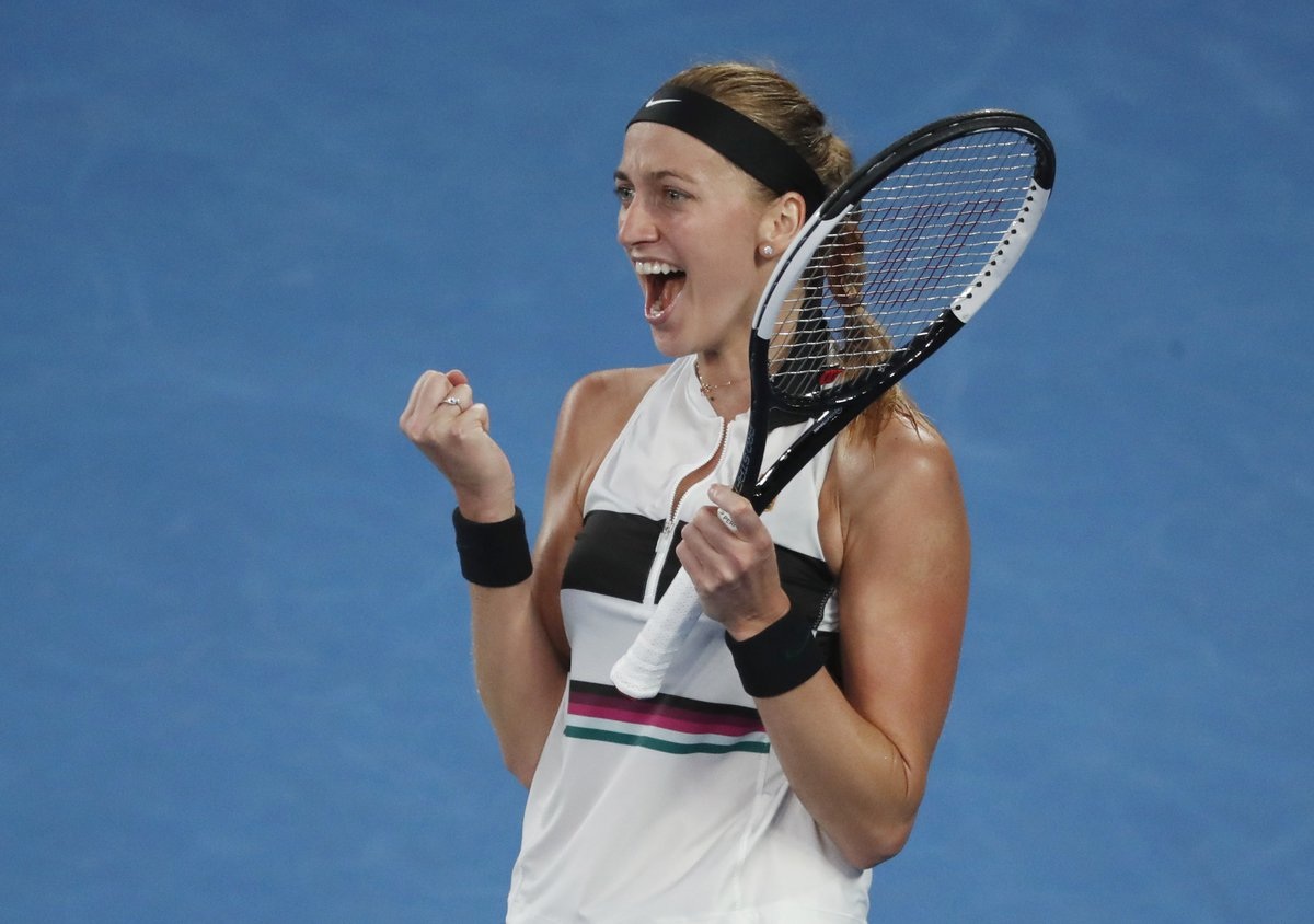 Petra Kvitová se raduje z postupu do semifinále Australian Open