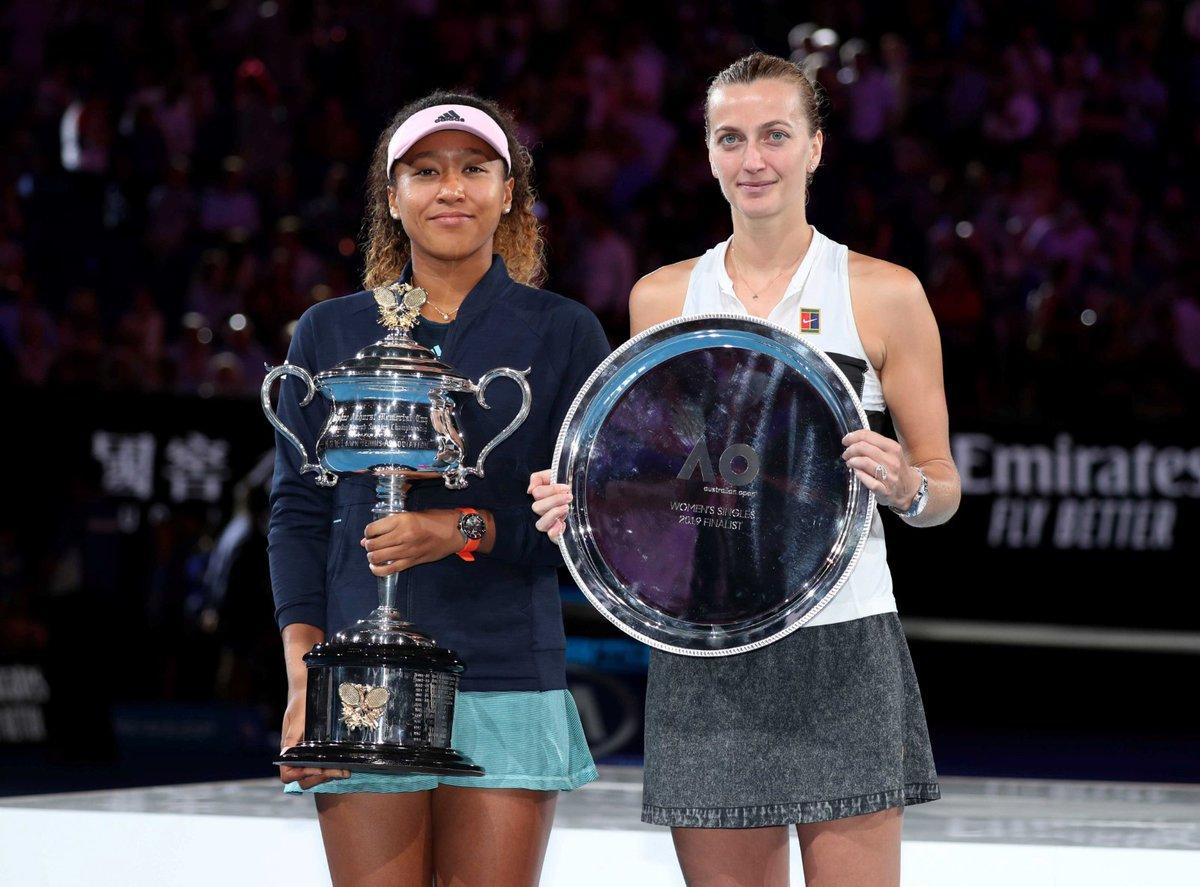 Nejlepší tenistky letošního Australian Open: vlevo vítězná Naomi Ósakaová, vpravo poražená finalistka Petra Kvitová