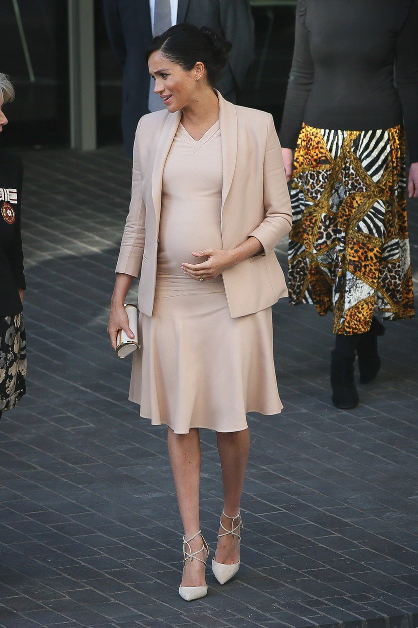 Těhotná vévodkyně Meghan Markleová v lednu 2019